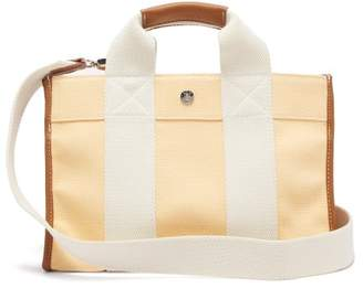 Rue De Verneuil - Traveller S Leather-trimmed Canvas Bag - Womens - Yellow Multi