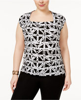 Kasper Plus Size Printed Square-Neck Top