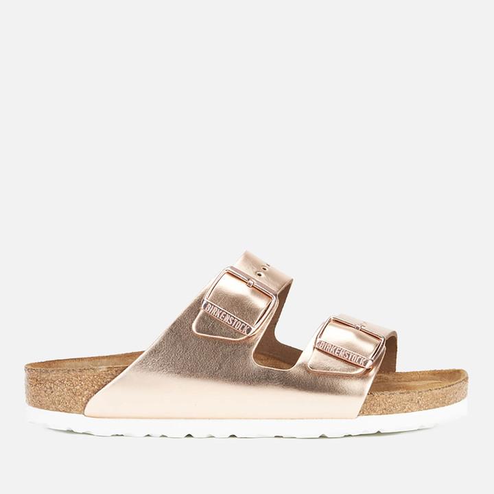 Birkenstock Women's Arizona Leather Double Strap Sandals - Metallic Copper