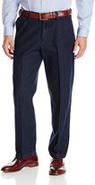 Haggar Men's Work-To-Weekend Dark Stonewash No-Iron Plain-Front Denim Pant