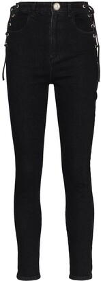 Alessandra Rich Lace-Side Skinny Jeans
