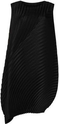 Issey Miyake Asymmetric Pleated Shift Dress