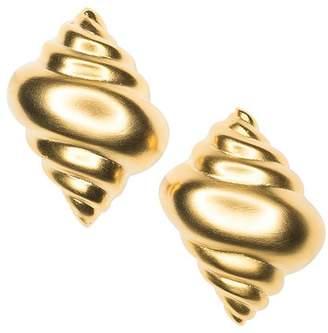 Kenneth Jay Lane Satin Gold Seashell Clip Earrings
