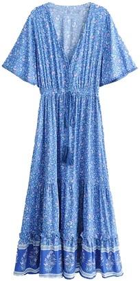 Goodnight Macaroon 'Celine' Bohemian Floral Print Wasit Tied Tassel V-Neck Maxi Dress (2 Colors)