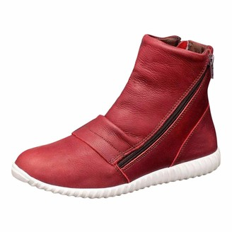 TEELONG 2019 Women's Casual Flat Boots Faux Leather Retro Short Boots Side Zipper Round Toe Walking Boots Solid Color Waterproof Boots Lightweight Casual Shoes Red