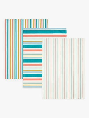 John Lewis & Partners Scandi Stripe Tea Towels, Pack of 3, Blue/Multi
