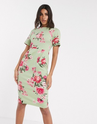 ASOS DESIGN wiggle midi dress in floral print