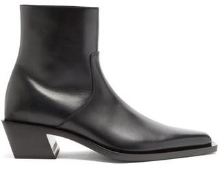 Balenciaga Tiaga Block-heel Leather Boots - Black/white