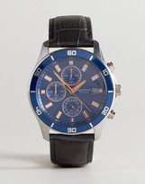 Sekonda Chronograph Leather Watch In Black Exclusive To Asos