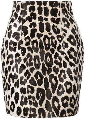 16Arlington leopard print leather skirt