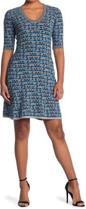 M Missoni Patterned Scoop Neck Fit & Flare Dress