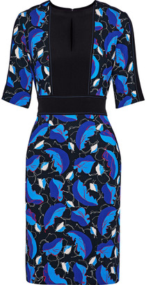 Carolina Herrera Cutout Printed Crepe Dress