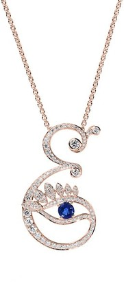 Tabayer Eye 18K White Gold, Emerald & Diamond Elegant Pendant Necklace