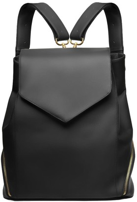 Holly & Tanager The Professional Armored Leather Backpack Purse In Black