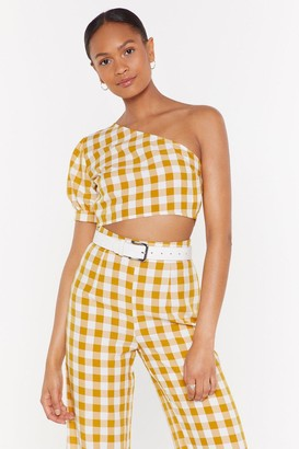 Nasty Gal Womens One on One Shoulder Gingham Crop Top - Multi