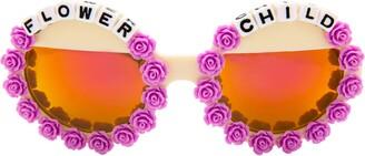 Rad + Refined Flower Child Mirrored Round Sunglasses