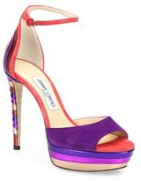 Jimmy Choo Max 120 Multicolor Suede & Metallic Leather Ankle-Strap Platform Sandals