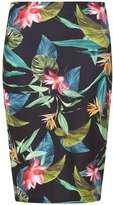 Dorothy Perkins Petite Black Tropical Print Scuba Pencil Skirt