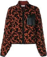 Proenza Schouler White Label PSWL Leopard Bubble Jacquard Cropped Bomber Jacket