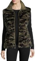 Belle Fare Reversible Camo-Print Rabbit Fur Vest