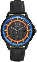Armani Exchange A|X Men's Black Leather Strap Watch 44mm AX2265