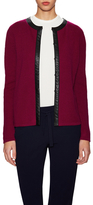 Crewneck Cardigan with Faux Leather Trim