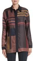 Lafayette 148 New York Women's Sabel Patchwork Silk Blouse