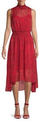 Nanette Lepore Cheetah-Print Chiffon Blouson Dress