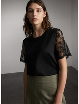 Burberry Cotton T-Shirt with Embroidered Tulle Sleeves
