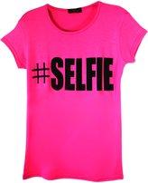 Ael Girls Kids # Selfie Slogan Print T-Shirt Hashtag Ages 5-13 Years