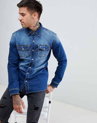 Good For Nothing muscle denim shirt-Blue