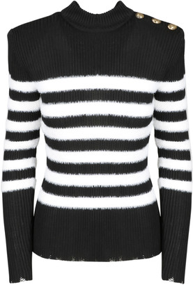 Balmain Striped Angora Effect Sweater