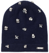 Jimmy Choo Eva Pearl Grey Blend Cashmere Knitted Beanie with Crystals