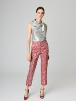 Oscar de la Renta Small Poppies Lamé Cloqué Pants