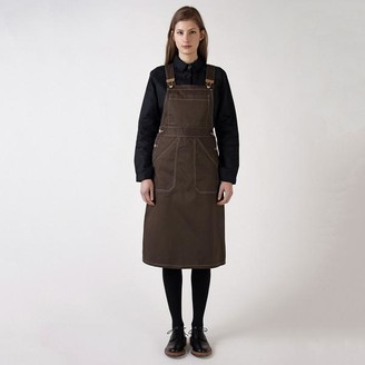 Kate Sheridan Cocoa And White Pinafore Dress - S