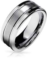 Bling Jewelry Grooved Unisex Matte Tungsten Ring 8mm