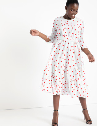 ELOQUII Puff Sleeve Dress with Tiered Skirt