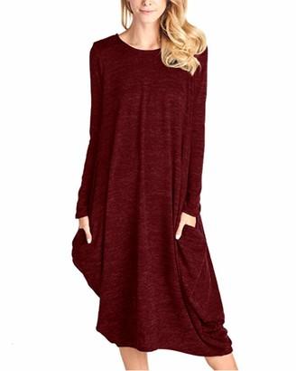 CNFIO Women Jumper Dresses Casual Long Sleeve Irregular Loose Maxi Dress with Pockets E-Black L/UK 14