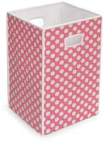 Badger Basket Folding Hamper/Storage Bin Pink with White Polka Dots