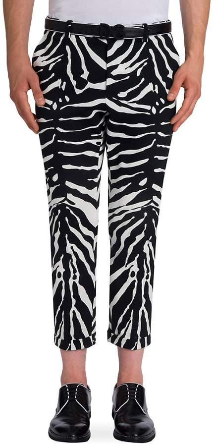 Dolce & Gabbana Men's Zebra Printed Regular Pants - White-black, Size 52