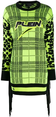 Philipp Plein tartan knitted dress