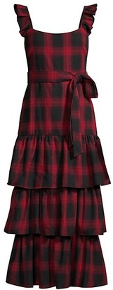 LIKELY Charlotte Plaid Ruffle Midi Dress