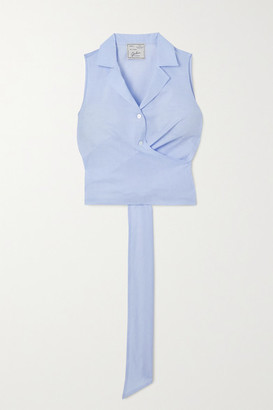 Giuliva Heritage Collection The Elide Cropped Tie-back Cotton-poplin Shirt - Blue