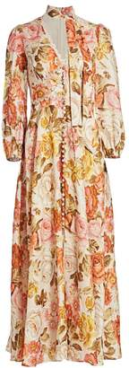 Zimmermann Bonita Long-Sleeve Floral Linen Dress