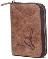 Contacts Men's Genuine Leather Short Zipper Bifold Wallet