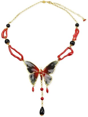 Bellus Domina Butterfly & Coral Necklace