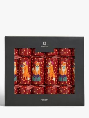 John Lewis & Partners Bloomsbury Fox Christmas Crackers, Pack of 12, Red