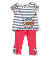 Rare Editions Baby Girls 12-24 Months Striped-To-Floral Purse Top & Solid Leggings Set