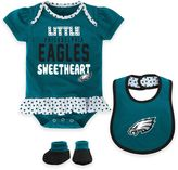 NFL Philadelphia Eagles Size 24M 3-Piece Girl Creeper, Bib, and Bootie Set