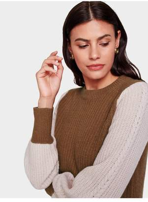 White + Warren Recycled Cashmere Cable Sleeve Crewneck